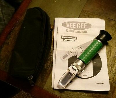 Vee Gee BX-10 Refractometer, with Brix Scale, 0-10%, +/-0.1%. FREE SHIPPING