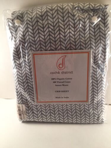 Cache District Gray Herringbone Fitted Crib Sheet Organic Cotton