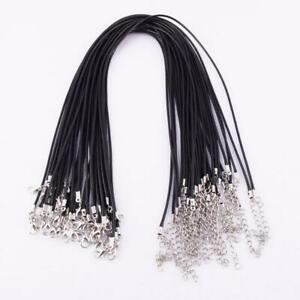 Bulk-Lots-Black-Leather-2mm-Cord-Lobster-Clasp-Fit-Pendant-Necklace-Chains-DI