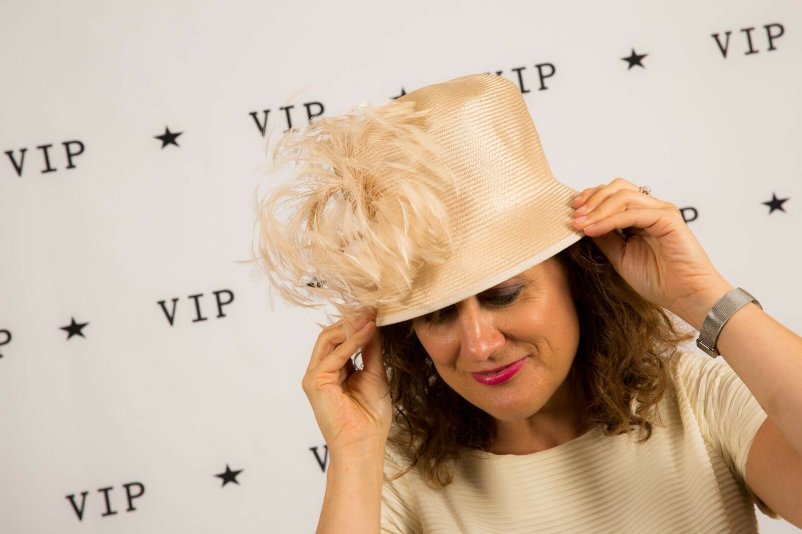 Cream feathered bucket formal hat WHITELEY Wedding Races Christening MOB