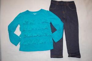 Toddler Girls DARK TEAL L//S TEE SHIRT Round Hem LEGGINGS Solid Color SIZE 4T