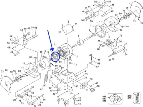 679643-00 Black /& Decker 6820 1788 DeWalt DW758 Bench Grinder Fan