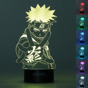 Uzumaki Naruto 3D LED Decor Night Light Touch Table Lamp Bedroom Xmas Gift