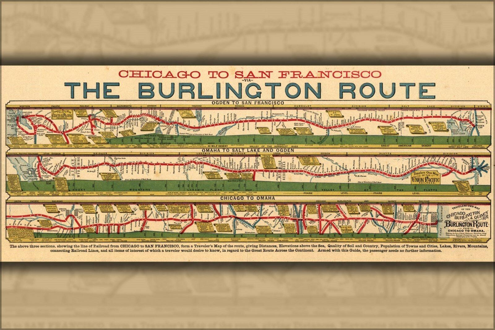 Plakat, Viele Größen; Karte von Burlington Eisenbahn 1879