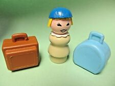 intage FISHER-PRICE Little People #996 AIRPORT LUGGAGE Blue and Brown Bags Lady