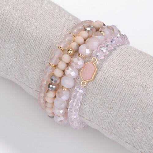 4 Pcs Pierre naturelle Perles Ovale Druzy Élastique Manchette Bracelet Pour Femmes Bijoux NEUF
