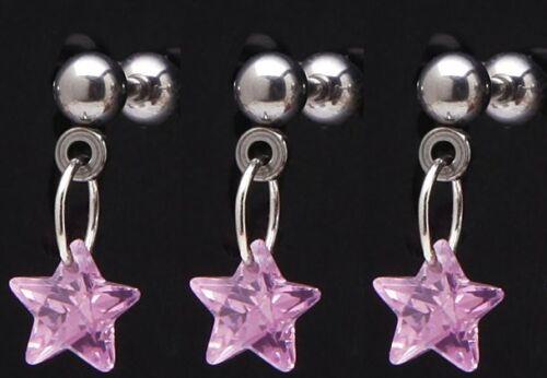 "Single Fancy CZ Gem Pink Star Chain Dangle Ear Tragus Ring 16g 1//4/"" Bar 583 1"