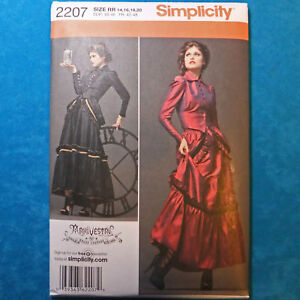 Simplicity-2207-Steampunk-Suit-Top-Skirt-Bustle-Costume-Sewing-Pattern-sz14-20