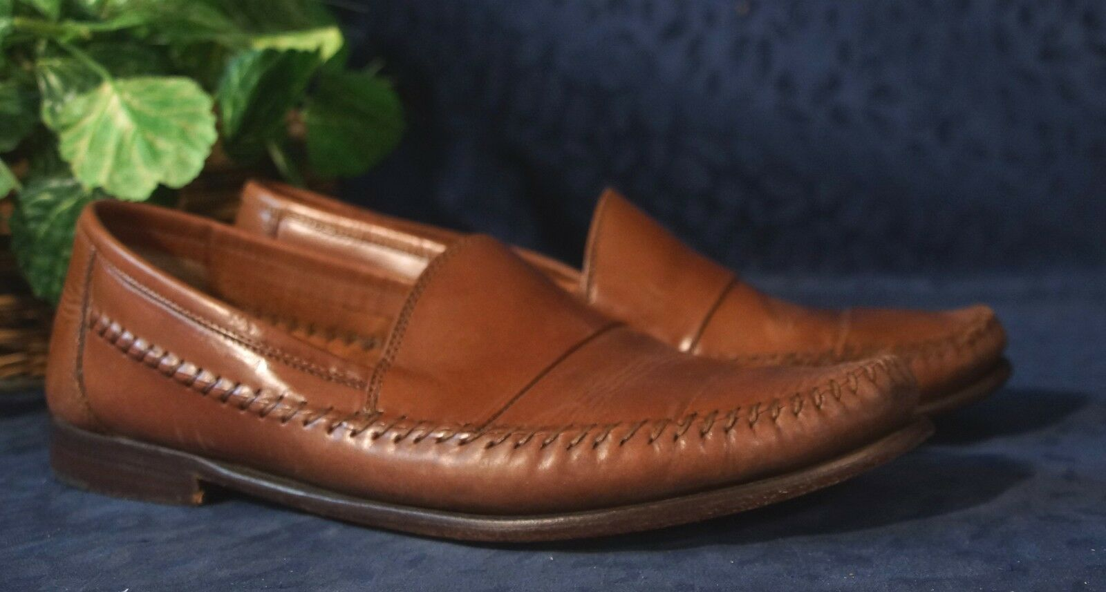 Nice Chestnut  Leather SANDLER of BOSTON Cap-Toed Loafers Sz 11D