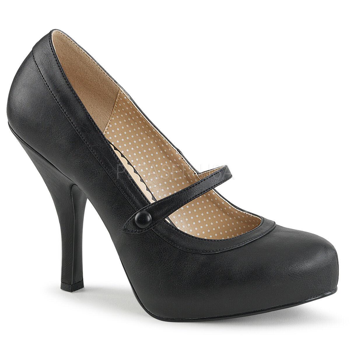 Sexy Rétro Pinup 4 1 2  Talon Caché Plateforme noir mat Mary Janes Pompes chaussures