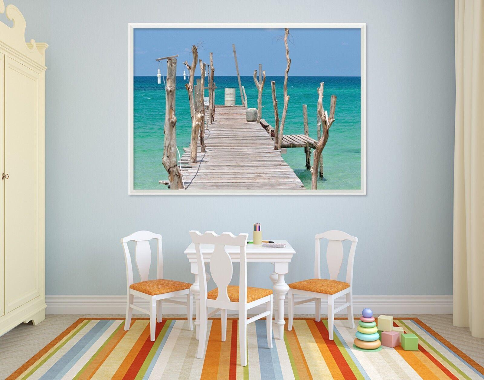 3D Wood Seaview 6 Framed Poster Home Decor Print Painting Art AJ WALLPAPER