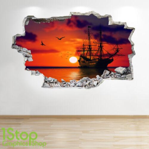 Schlafzimmer Lounge Meer Sonnenuntergang Piratenschiff Wandaufkleber 3D Optik