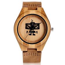 Robot Bamboo Genuine Brown Leather Band Nature Wood Men Sport Quartz Wrist Watch