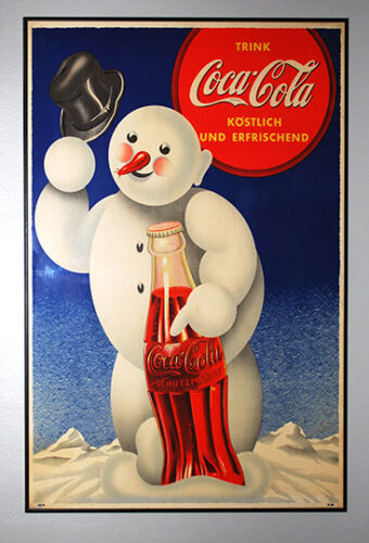 Coca Cola snow man Old Magazine Soft drink Advertising poster reproduction