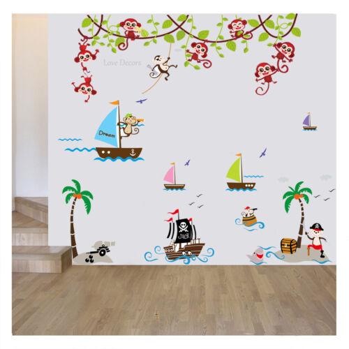 Monkey Wall Stickers Animal Jungle Pirate Boat Nursery Baby Kids Room Decal Art