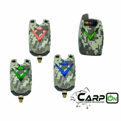 CarpOn Bissanzeiger Set V3+1 Camou Set 1:1 Camouflage Transportkoffer 180 m