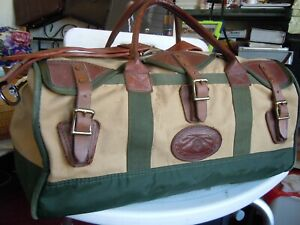 Vintage-GOKEYS-ORVIS-Canvas-amp-Leather-Hunting-Travel-Duffle-Bag-carry-on