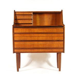Retro-Vintage-Danish-Teak-Bureau-Office-Writing-Desk-Chest-of-Drawers-60s-70s