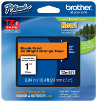 Brother 1 (24mm) Black On Orange P-touch Tape For Pt2700, Pt-2700 Label Maker