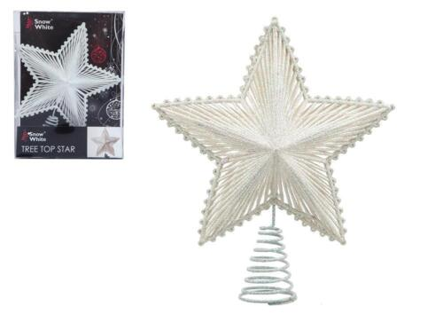 SILVER /& WHITE CHRISTMAS TREE BAUBLES HANGING XMAS DECORATIONS STAR TINSEL