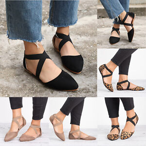 Women-Ballet-Ballerina-Dance-Shoes-Ankle-Strap-Flat-Casual-Comfy-Sandals-Shoes
