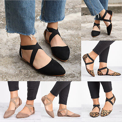 Womens Flat Ankle Cross Strap Sandals Pointed Toe Casual Summer Ballet Shoes AU | eBay