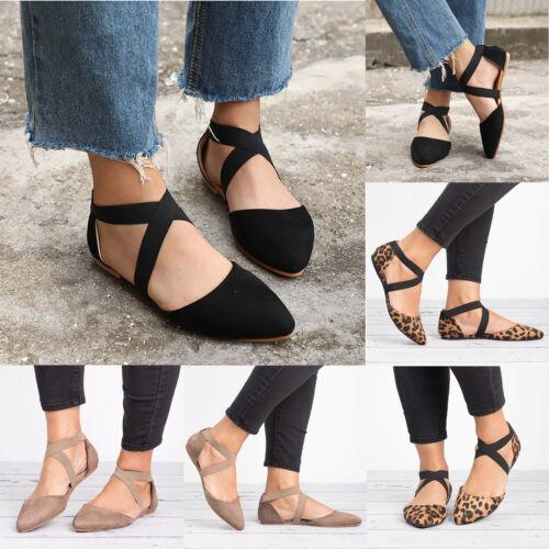 Womens Ankle Strap Flats Pumps Ballet Ballerina Dolly Bridal Sandals Shoes Size