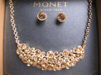 $24 Monet Choker Crystal Accent Gold Tone Necklace & Post Earrings Set