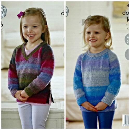 KNITTING PATTERN Girls Easy Knit V-Neck /& Round Neck Jumpers Sprite DK 4577