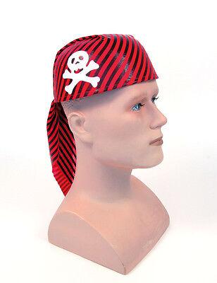 # Teschio Pirata Cappello Rosso E Nero Strisce Per Halloween Party