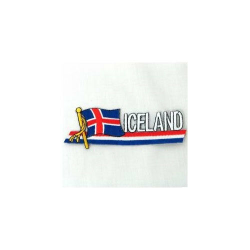ICELAND SIDEKICK WORD COUNTRY FLAG IRON-ON PATCH CREST BADGE 1.5 X 4.5 IN