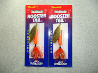 2 X Yakima Bait , Wordens , 3/8 Oz , Rooster Tail Spinners - Orange Fluo. -