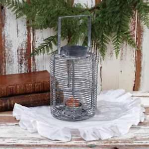 NORFOLK-new-distressed-tin-tealight-candle-lantern-nice