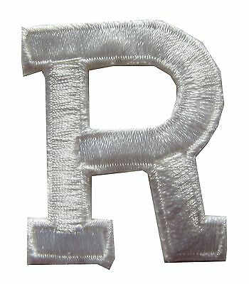 "1-3/4"" Beige White Letter ""R"" Embroidery Iron On Appliqué Patch/Old Stock"