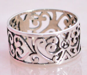 PRETTY FILIGREE SWIRL Ring Band All Genuine Sterling Silver.925 Stamped Size 6