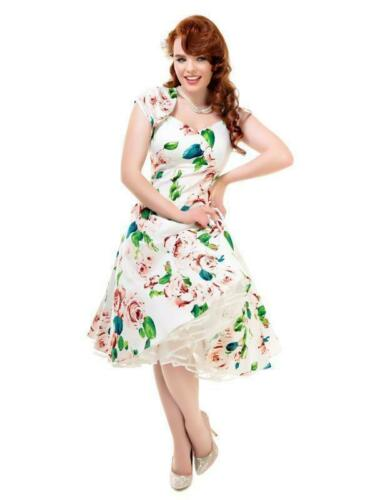 COLLECTIF VINTAGE SZ 10-22 REGINA DOLL ASCOT FLORAL DRESS 1950S SWEETHEART