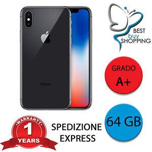IPHONE X RICONDIZIONATO GRADO A+ 64 GB nero ORIGINALE APPLE + GARANZIA 1 ANNO