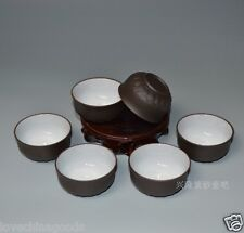 6pcs*60ml Big tea cup Lotus carved Cup ZISHA purple clay cup of tea in Chinese