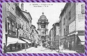 Carte-postale-BOURG-eglise-et-la-rue-notre-dame