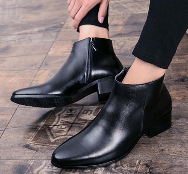 New Mens Leather Ankle Boots High Top Pointed Toe Zip Hidden Heel Shoes Black