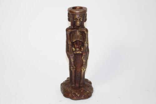 Kerzenständer Skulptur Figur Bronze Totenkopf Skelett