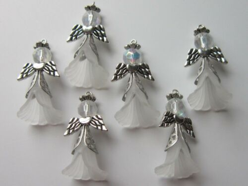 8 Angel Guardian Charms Pendants Glass Acrylic Beads Xmas Wedding Silver White