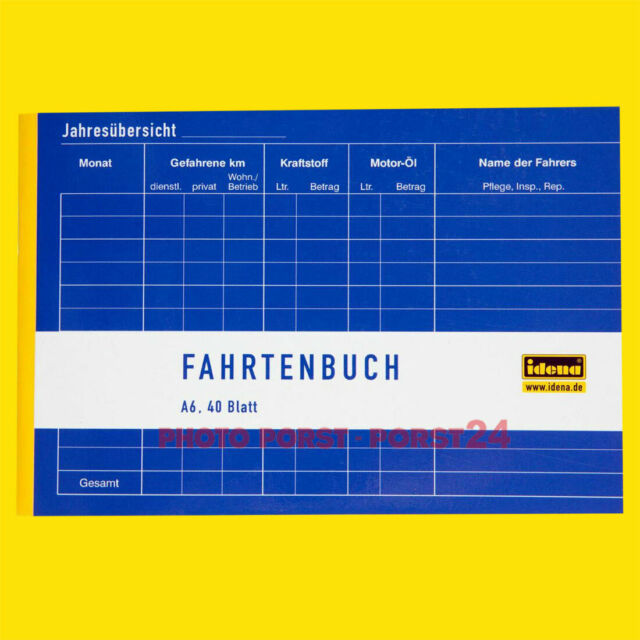 IDENA Fahrtenbuch DIN A6 quer 40 Blatt Formularbuch