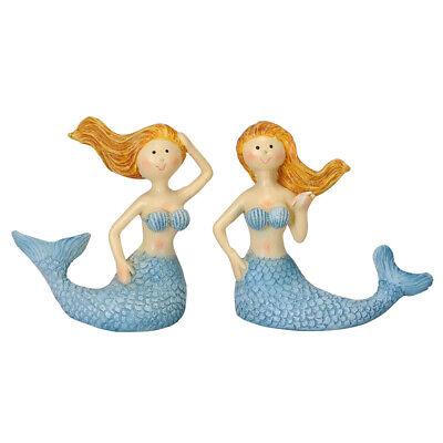 2tlg Meerjungfrau MELINA blau Figur Badenixe mit wehendem Haar maritim Strand