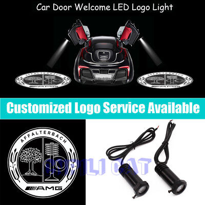 fit for AMG 2 Pcs Wireless Car Door Led Welcome Laser Projector Logo Light Ghost Shadow Light Lamp Logos Kit