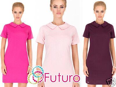 Aggressiv Ladies Shift Dress With Collar Short Sleeve 20's Style Tunic Sizes 8-14 Fa385