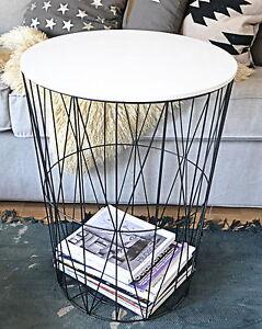 Beistelltisch metall  XL Design Tisch Beistelltisch Drahtkorb Korb Metall schwarz | eBay
