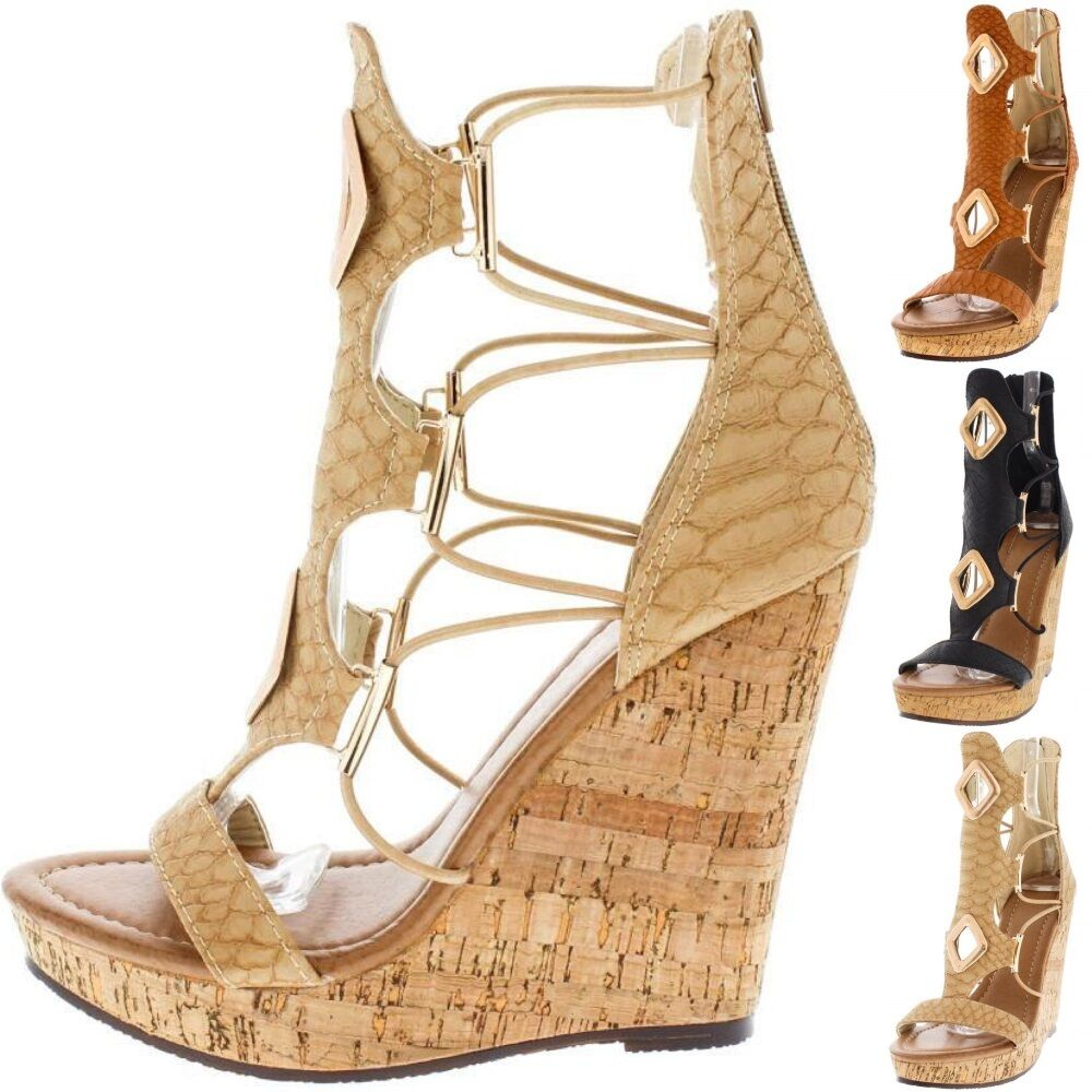 NEW Strappy Caged Open Toe Wedges Platform Gladiator Bootie High Heel Sandal W34