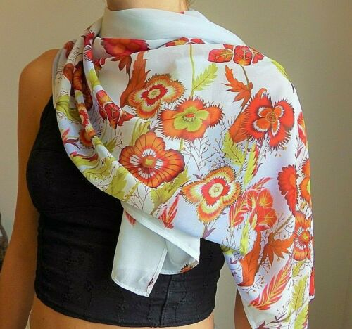 Floral Wrap Sarong Silky Scarf Marigold Flowers Ladies Floral Scarf