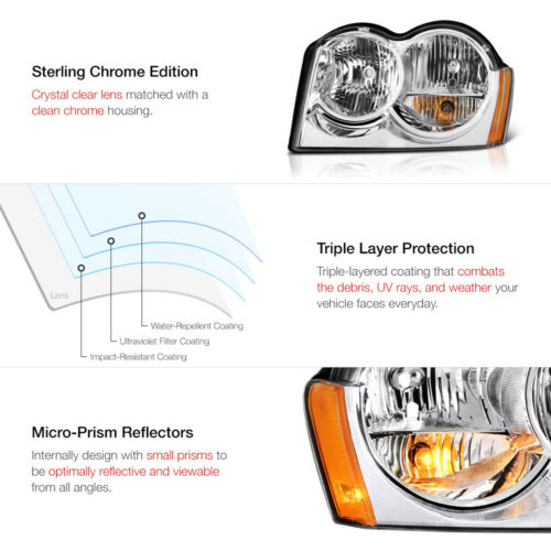 """For 2005-2007 Jeep Grand Cherokee WK /""""FACTORY STYLE/"""" Chrome Headlights Assembly"""
